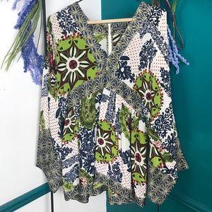 Barbara Bui Initials Boho Silk Kimono Tunic Blouse